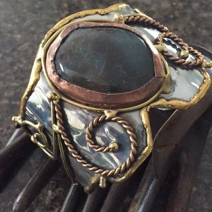 Jewelry - Mixed Metal and Natural Stone Cuff Bracelet